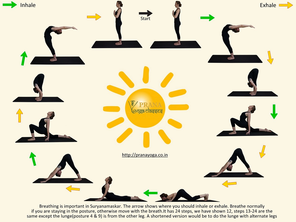 Surya Namaskar Poses And Breathing
